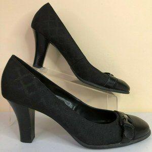 Etienne Aigner Margaux Black Fabric Leather Pumps